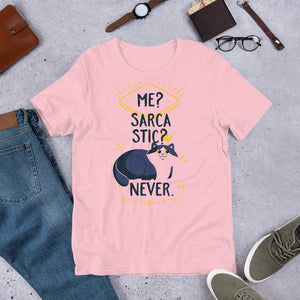 Me Sarcastic Never Pink T-Shirt– Shop for Me Sarcastic Never Unisex T-Shirts Online – Desseni