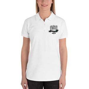 Coffee Embroidered Women's Polo Shirt - desseni