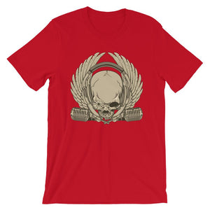Skull  With Microphone  Unisex T-Shirt - desseni