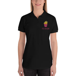 It's Fry Day Embroidered Women's Polo Shirt - desseni