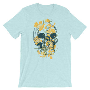 Skull With Yellow Flowers Unisex T-Shirt - desseni