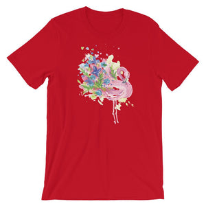 Flamingo with Flowers Unisex T-Shirt - desseni