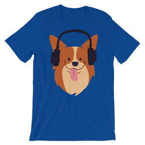 Cute Corgi is Listening The Music  T-Shirt– Shop for Cute Corgi is Listening The Music  Unisex T-Shirts Online – Desseni