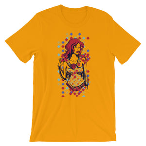 Red-Haired Savvy Lady Unisex T-Shirt - desseni