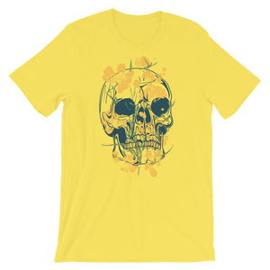 Skull With Yellow Flowers T-Shirt– Shop for Skull With Yellow Flowers Unisex T-Shirts Online – Desseni