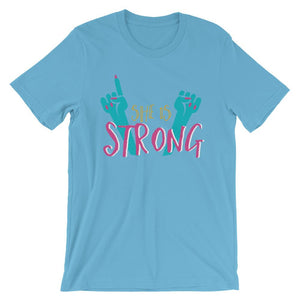 She Is Strong Ocean Blue T-Shirt– Shop for She Is Strong Unisex T-Shirts Online – Desseni