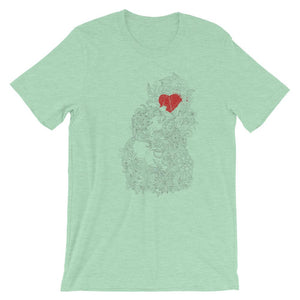 Red Heart In The Flowers Unisex Artistic T-Shirt - desseni