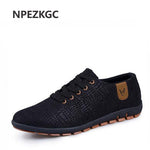 NPEZKGC Canvas Men Shoes Breathable Male Low Lace Up Shoes