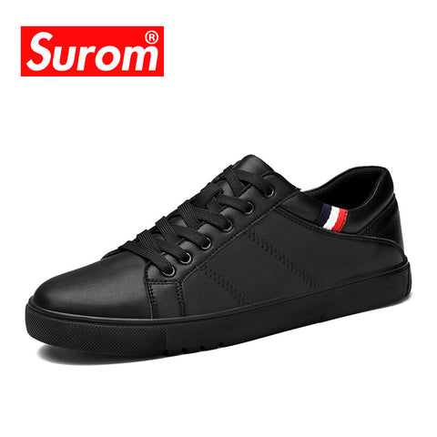 SUROM Men's Leather Lace up Black or White Flat Heel Sneakers
