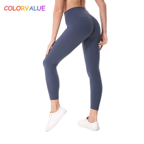 Colorvalue Plus Size  Sport Fitness Pants Women High Waisted Gym Running Tights Stretchy Nylon+Spandex Yoga Pants