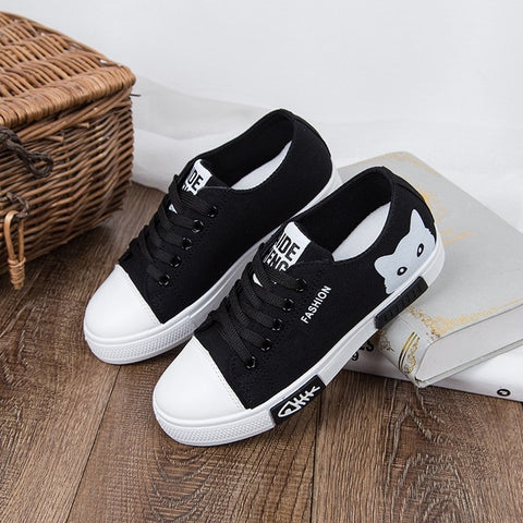 Women Flat Cartoon Canvas Shoes 2018 White Lace Up canvas Shoes