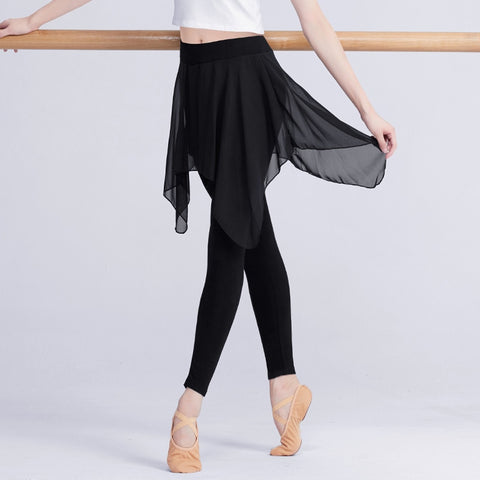 Lyrical Chiffon Skirt Cotton Gymnastics Fitness Yoga Long&Capri Ballet Dance Pants For Women