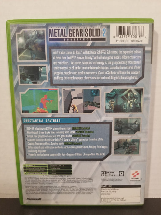 Metal Gear Solid 2: Substance for Xbox