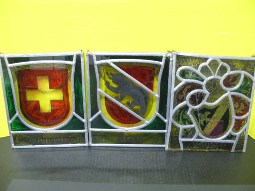 Lot of 3 Stained Glass Art Hangings