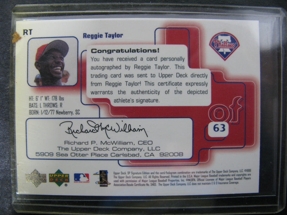 Autographed Reggie Taylor Signature Edition Card Phillies