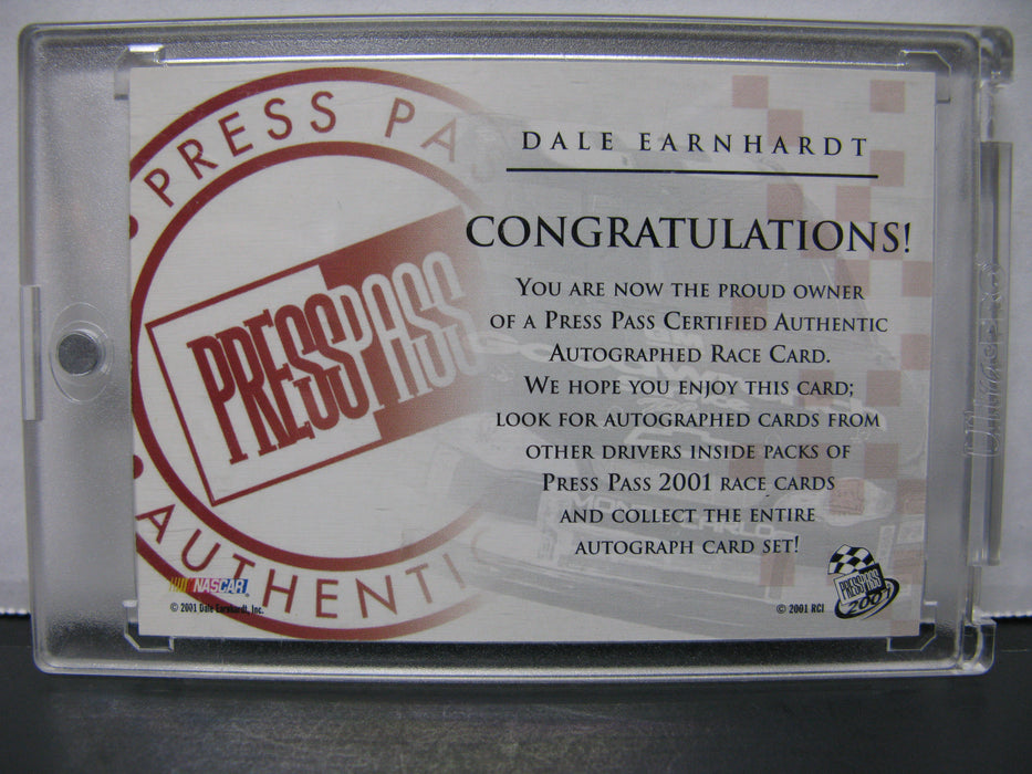 Dale Earnhardt Signed Autographed Press Pass 2001 Card