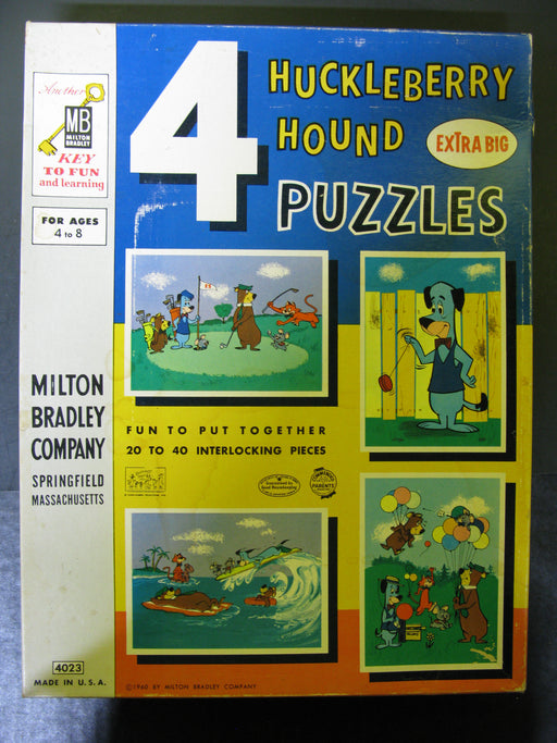 4 HuckleBerry Hound Puzzles Extra Big with Stuffed Animal