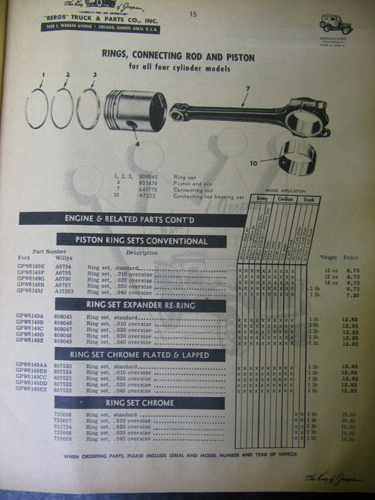 """Bergs"" 1966-67 Replacement Jeep Parts for Military and Civilian Vehicles Catalog"
