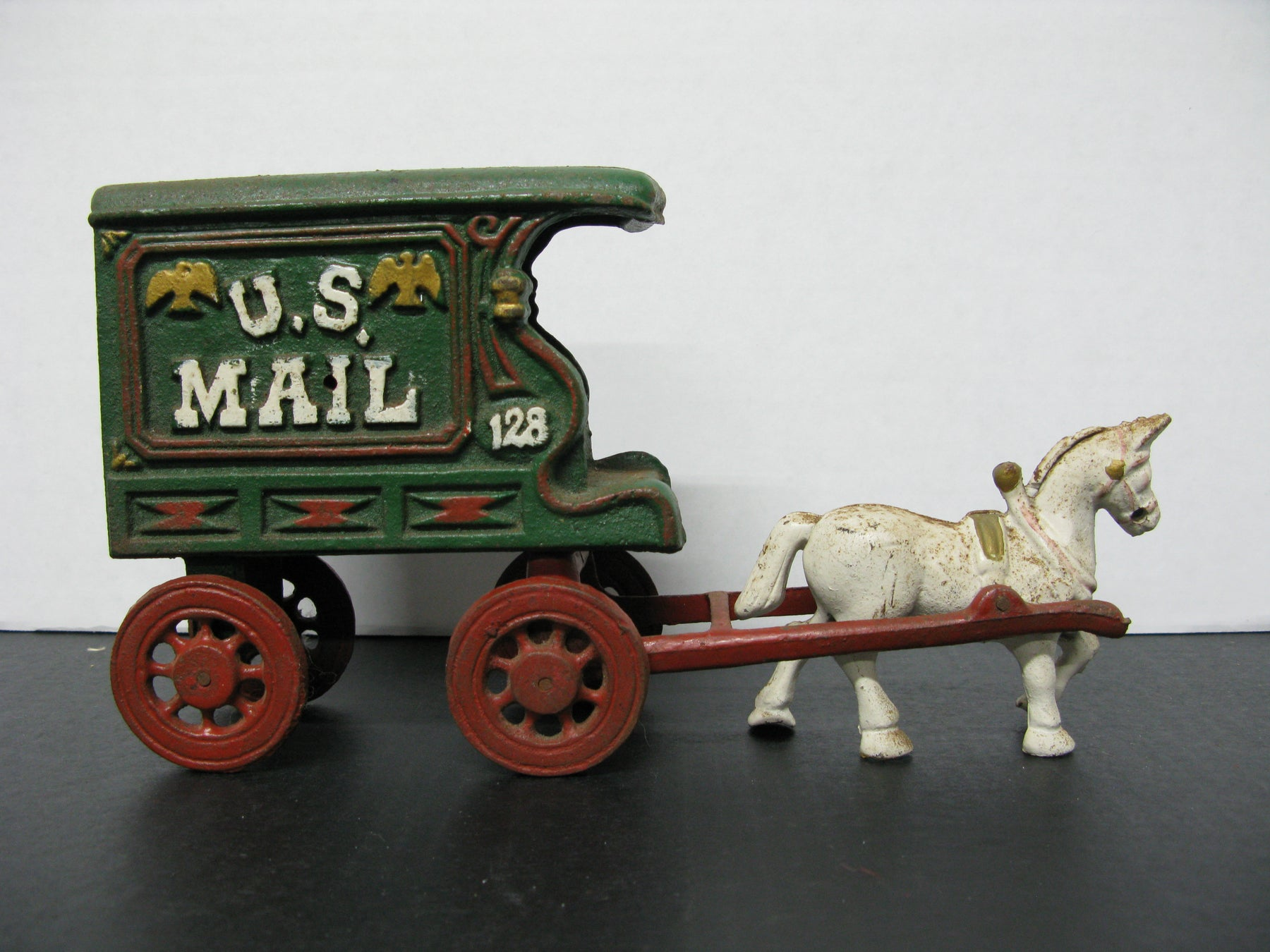 Vintage Heavy Cast Iron US Mail 128 Wagon/Carriage With Horse and Driver