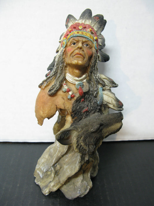 Indian with Wolf Statue Decor
