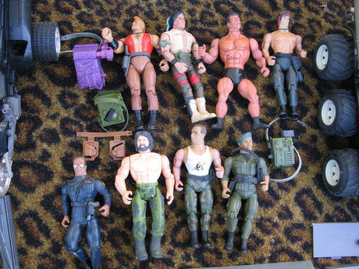 Lot of Vintage Gi Joes, Rambo, Star Wars, and Robotix: Parts and Pieces