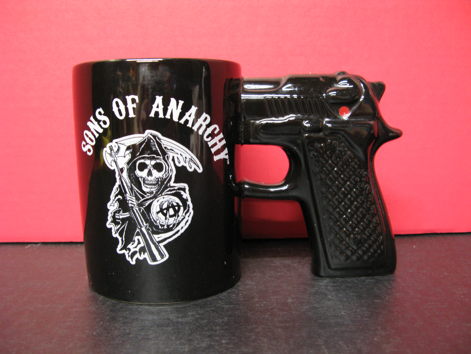Sons Of Anarchy Skull Samcro Gun Handle Pistol Mug Ceramic