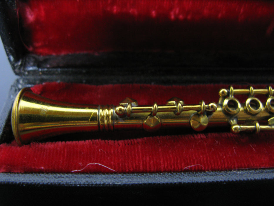 Mini Decorative Golden Clarinet