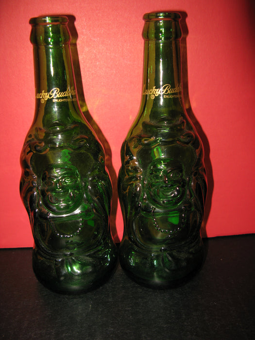 "2 Glass ""Lucky Buddah"" Bottles"