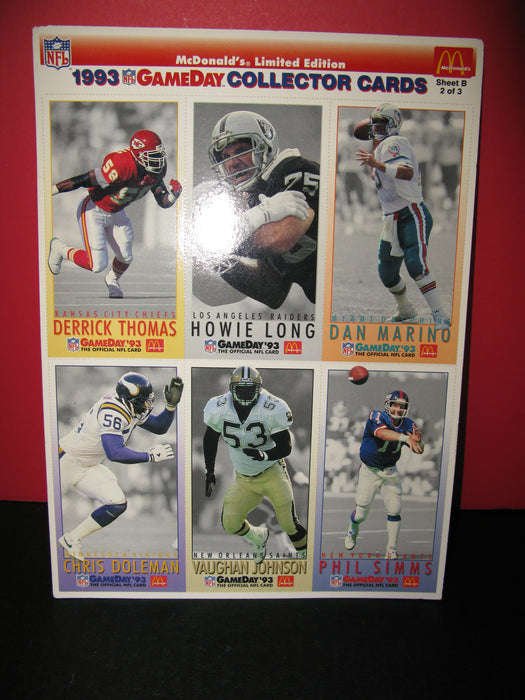 3 Sheets of NFL 1993 GameDay Collector Cards