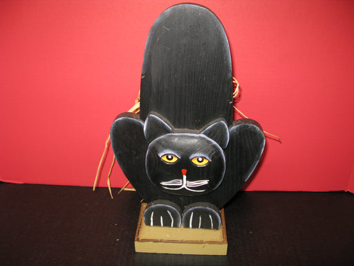 2 Wooden Display Black Cats