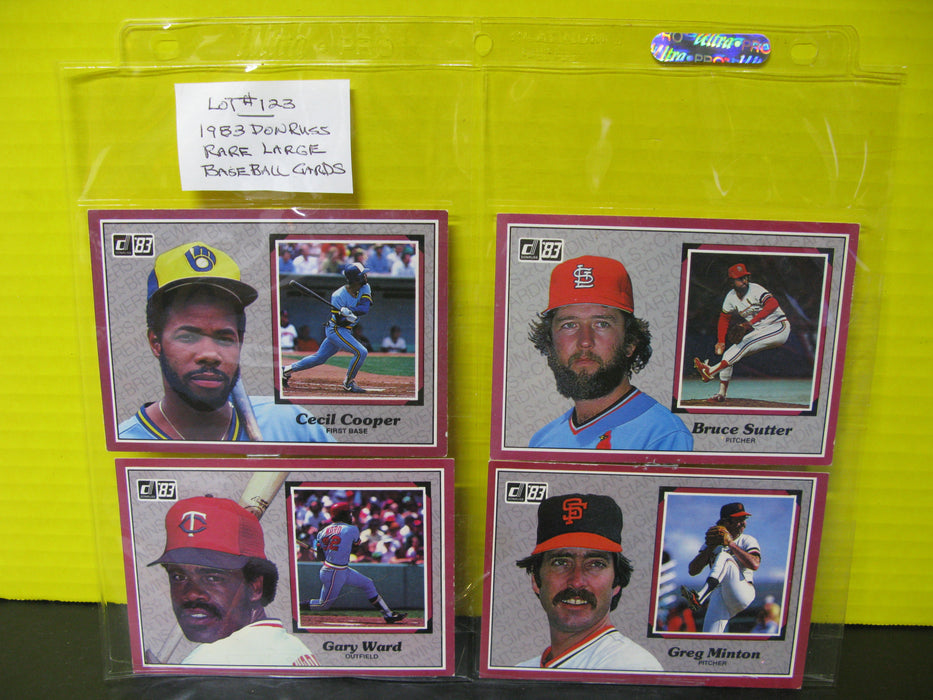 1983 Don Russ Rare Large Baseball Cards (8 count)