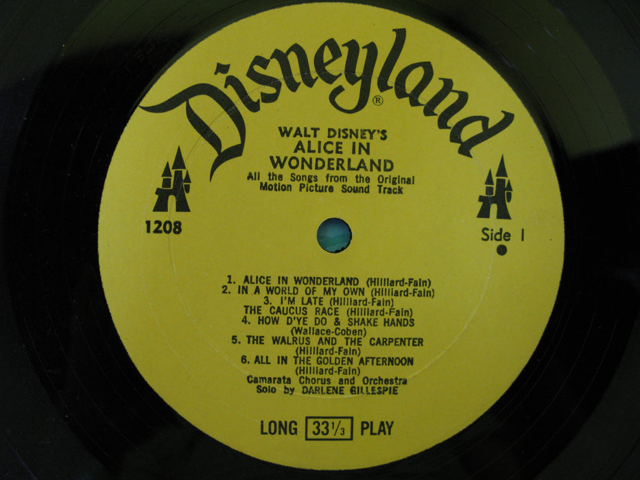 All the Songs from Walt Disney's Alice in Wonderland Disneyland Record Vinyl