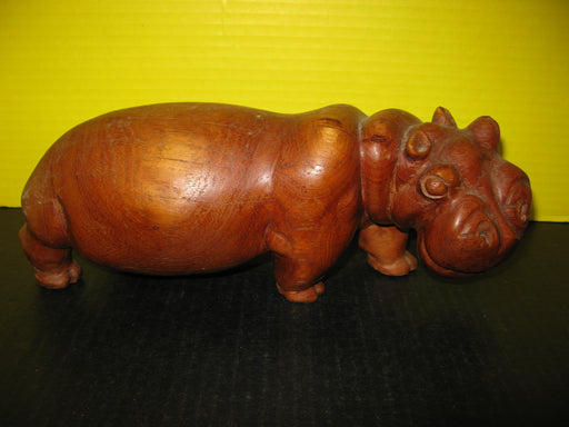 Wooden Hippopotamus Decoration Display