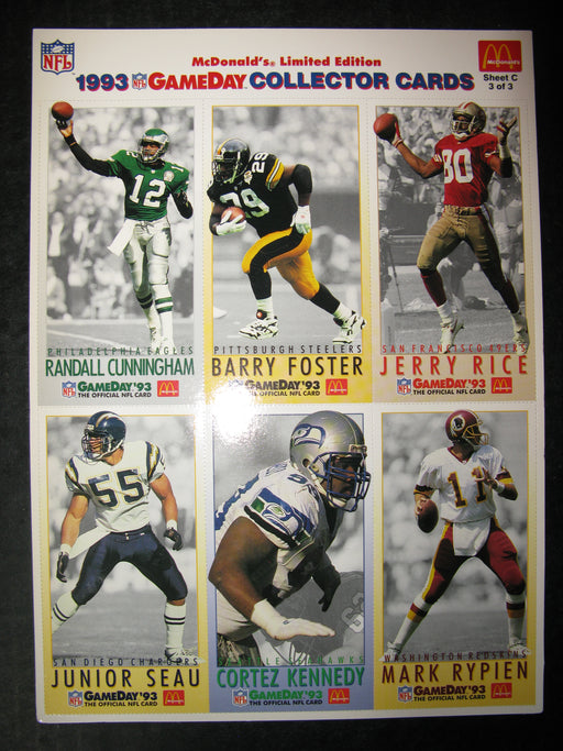 McDonald's Limited Edition 1993 NFL GameDay Collector Cards Sheet C 3 of 3