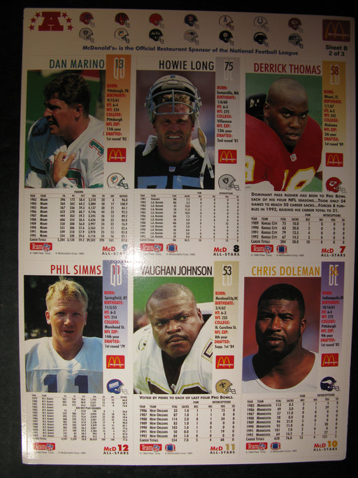 McDonald's Limited Edition 1993 NFL GameDay Collector Cards Sheet B 2 of 3