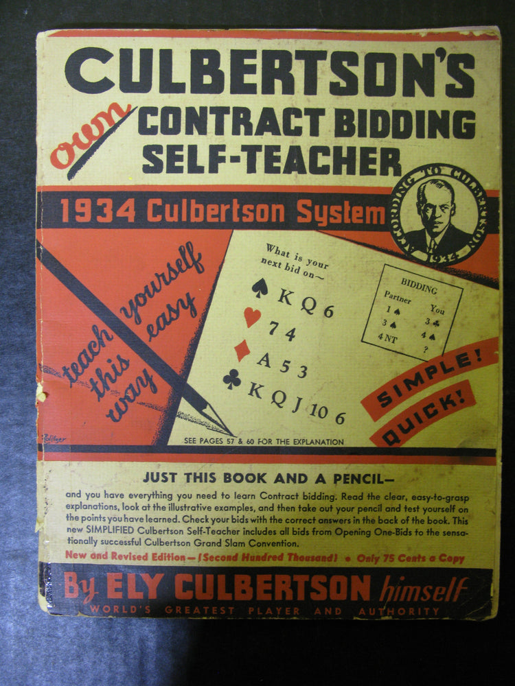 "1930 Culbertson System ""How to Play Bridge"" and Two Bridge Tally Sheets"