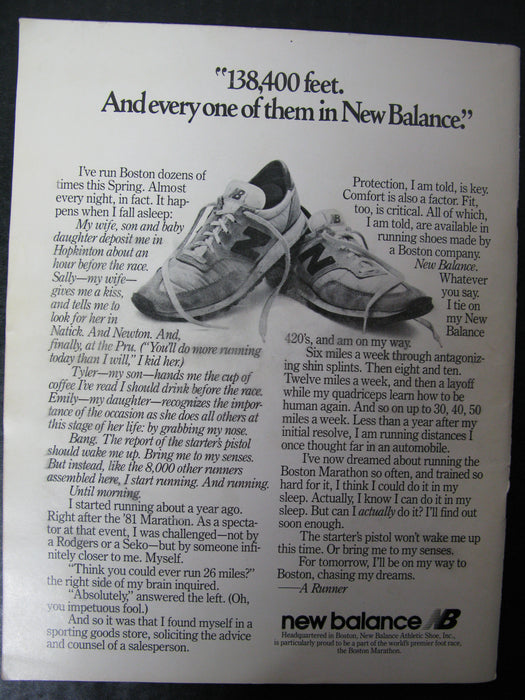 The Boston Marathon 1982 Official Starting Field AND The Official 1982 BAA Boston Marathon Souvenir Magazine