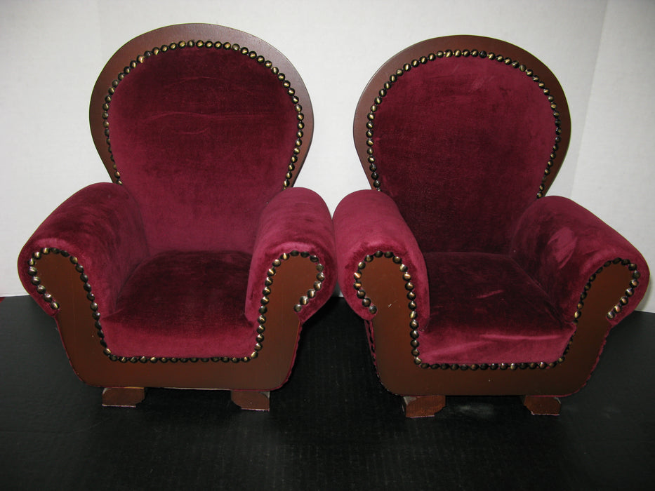 2  Velvet Chairs (14 and a half inches tall)
