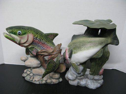 2 Ceramic Fish Statue Decorations