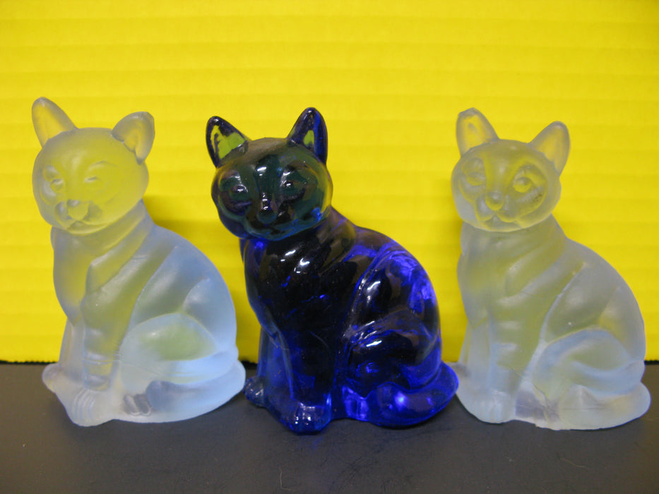 3 Blue Cats and Glass Art Piece
