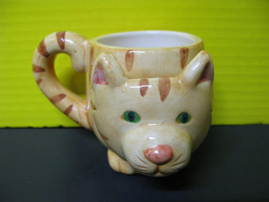 White Cat Display and Cat Mug
