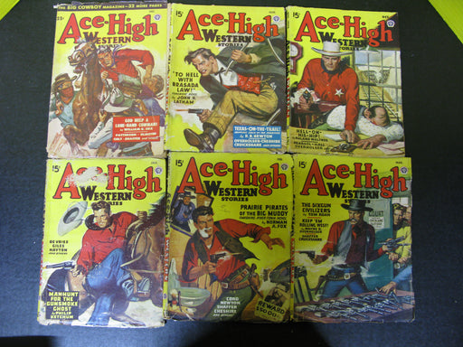 6 Ace-High Western Stories Magazines