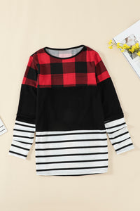 Plaid Splicing Striped Color Block Long Sleeve Top