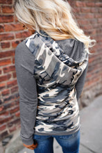 Load image into Gallery viewer, Dark Gray Camouflage Pocket Hoodie