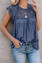 Load image into Gallery viewer, Blue Crochet Lace Trim Blouse