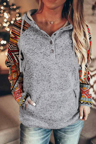 Tribal Print Long Sleeve Button Neckline Drawstring Hoodie