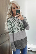 Load image into Gallery viewer, Leopard Print Ribbed Texture Color Block Hoodie