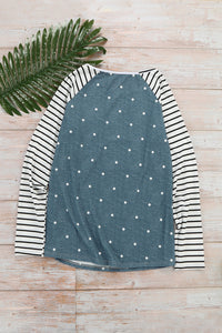 Sequin Pocket Dotted Panel Striped Sleeve Top