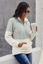 Load image into Gallery viewer, Grey White Zip Neck Oversize Fluffy Fleece Pullover
