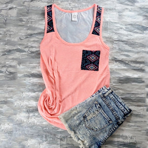 Aztec and arrows print tank top with pocket